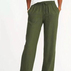 OLD NAVY Green Linen Blend Drawstring Waist Pants